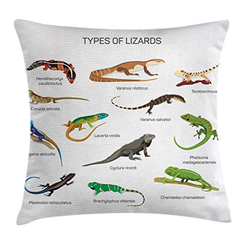 Ambesonne Reptile Throw Pillow Cushion Cover Lizard Family Design on Plain Background Primitive Camouflage Exotic Creatures Decorative Square Accent Pillow Case 24 X 24 Brown Green