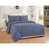 Mk Home 4pc Full Sheet Set for Teens Baseball Dark Blue Red White New z7N-B07QH8814H