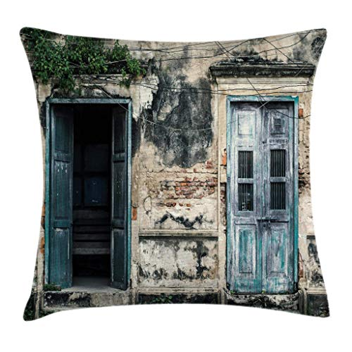 Ambesonne Rustic Throw Pillow Cushion Cover Doors of Old Rock House with French Frame Details in Countryside European Past Theme Decorative Square Accent Pillow Case 20 X 20 Teal Grey