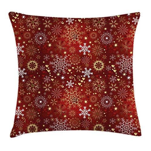 Ambesonne Winter Throw Pillow Cushion Cover Old Fashioned Christmas Hearts and Swirls Vintage Composition Decorative Square Accent Pillow Case 20 X 20 Vermilion Yellow