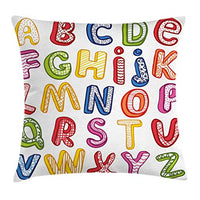Ambesonne Educational Throw Pillow Cushion Cover Hand Drawn Colorful 3D Style ABC Letters with Kids Patterns Joyful Fun Design Decorative Rectangle Accent Pillow Case 26 X 16 White Yellow