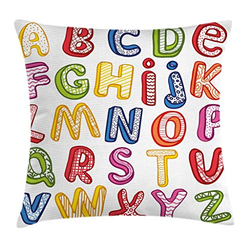 Ambesonne Educational Throw Pillow Cushion Cover Hand Drawn Colorful 3D Style ABC Letters with Kids Patterns Joyful Fun Design Decorative Square Accent Pillow Case 16 X 16 White Yellow