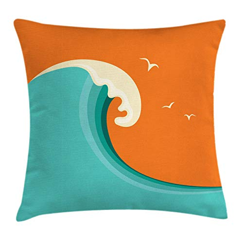 Lunarable Surf Throw Pillow Cushion Cover Giant Wave with Seagull Silhouettes on a Warm Colored Background Cartoon Decorative Square Accent Pillow Case 20 X 20 Turquoise Orange