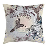 Ambesonne Hummingbird Throw Pillow Cushion Cover Birds and Hibiscus Flowers Nostalgia Antique Design Classical Print Decorative Square Accent Pillow Case 16 X 16 Teal Brown
