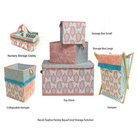 Bacati Paisley Kids Storage Collapsible Hamper 14 x 14 x 19 inches CoralAqua bt7-B0793MY854