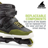 Rollerblade NJ Pro Unisex Adult Street Inline Skate Black and Army Green Premium Inline Skates Qv3-B0758VDKN5