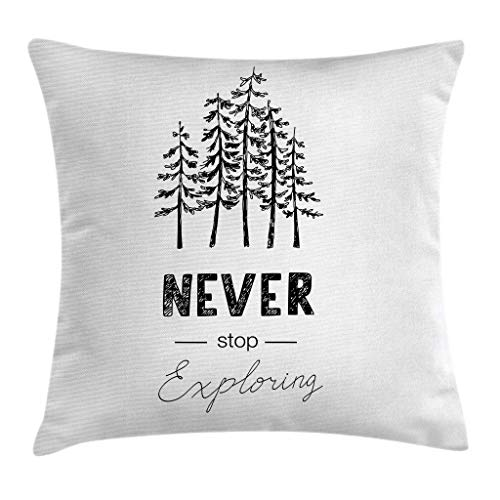 Ambesonne Adventure Throw Pillow Cushion Cover Motivational Never Stop Exploring Words Typography and Trees Sketchy Vintage Decorative Square Accent Pillow Case 18 X 18 White Black