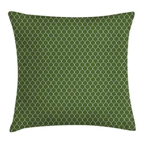 Ambesonne Green Throw Pillow Cushion Cover Vivid Forest Natural Colored Geometric Wave Like Round Edged Shaped Image Decorative Square Accent Pillow Case 16 X 16 Olive Green