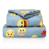 Chital Full Bed Sheets for Boys | 4 Pc Colorful Kids Bedding Set | Light Blue Emoji Print | Durable SuperSoft DoubleBrushed Microfiber | 1 Flat 1 Fitted Sheet 2 Pillow Cases | 15 Deep wcu-B07L8MCX6K