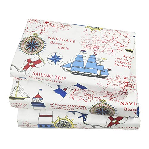 Jpinno Cute Cartoon Sailboat Ocean Sea Adventure Printed Twin Sheet Set for Kids Boy Children100 Cotton Flat Sheet + Fitted Sheet + Pillowcase Bedding Set LJv-B01NBK5GDN