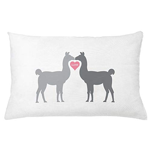 Ambesonne Llama Throw Pillow Cushion Cover 2 Animals in Love with a Heart Between Them LLove Words Greyscale Animals Decorative Rectangle Accent Pillow Case 26 X 16 Grey Pink