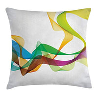 Ambesonne Abstract Throw Pillow Cushion Cover Styled Wavy Ribbon Line and Smoked Rainbow Like Cool Graphic Artwork Decorative Square Accent Pillow Case 20 X 20 Multi Colored