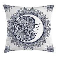 Ambesonne Zodiac Throw Pillow Cushion Cover Intricate Boho Mandala Form with Crescent Moon Foreground Alchemy Decorative Square Accent Pillow Case 16 X 16 Navy White
