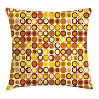 Ambesonne Mid Century Throw Pillow Cushion Cover RetroThemed Styled Round Edged Square Pattern in Old Earth Tones Decorative Square Accent Pillow Case 24 X 24 Yellow Brown