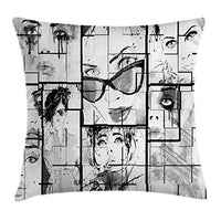 Ambesonne Eiffel Tower Throw Pillow Cushion Cover Women Faces with Different Eye Makeup Eiffel Tower Romance Paris Image Decorative Square Accent Pillow Case 18 X 18 Black Grey