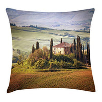 Lunarable Tuscan Throw Pillow Cushion Cover Tuscany Seen from Stone Village of Montepulciano Italy in Cloudy Day Decorative Square Accent Pillow Case 16 X 16 Green Brown