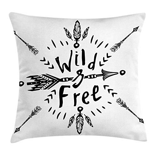 Lunarable Wild and Free Throw Pillow Cushion Cover Monochrome Composition of Motifs with Motivational Words Decorative Rectangle Accent Pillow Case 26 X 16 Black and White