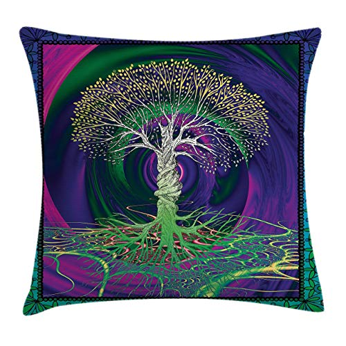 Ambesonne Nature Throw Pillow Cushion Cover Digital Psychedelic Tree of Life with Turning Gothic Background Mystery Display Decorative Square Accent Pillow Case 16 X 16 Fuchsia Purple