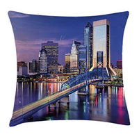Ambesonne United States Throw Pillow Cushion Cover Urban Cityscape Bridge Office Buildings Jacksonville Florida Decorative Square Accent Pillow Case 18 X 18 Night Blue