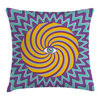 Ambesonne Vintage Throw Pillow Cushion Cover Third Eye Inside Hypnotic Spiral Circles Trippy Lines Mystic Hippie Boho Decorative Square Accent Pillow Case 20 X 20 Lavender Yelllow