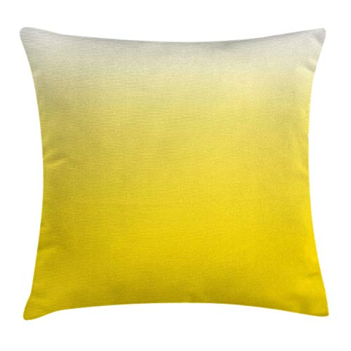 Ambesonne Ombre Throw Pillow Cushion Cover Rising Happy Sun Inspired and Vivid Colored Modern Design Digital Artwork Print Decorative Square Accent Pillow Case 18 X 18 Yellow White