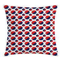 Ambesonne Geometric Throw Pillow Cushion Cover Abstract Colorful with Half Circles Rounds Artwork Image Decorative Square Accent Pillow Case 24 X 24 Navy Red