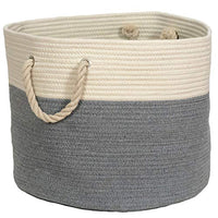 We Care Vida Woven Laundry Basket Natural Cotton Rope Basket | 173 W x 138H | Decorative Blanket Basket for Your Living Room Gray Beige 0WC-B07S5CDRK2