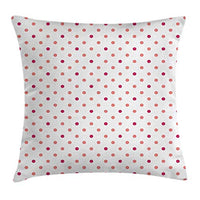 Ambesonne Coral Throw Pillow Cushion Cover Classical Retro Style Soft Colored Polka Dots Tile Small Spots Symmetrical Decorative Square Accent Pillow Case 18 X 18 Pink White