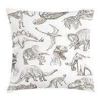 Ambesonne Jurassic Throw Pillow Cushion Cover Arrangement of Various Dinosaurs Illustrations Skeleton Biology Historic Decorative Square Accent Pillow Case 16 X 16 Dark Brown