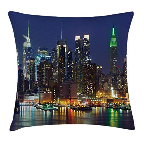 Ambesonne New York Throw Pillow Cushion Cover NYC Midtown Skyline in Evening Skyscrapers Metropolis City States Photo Decorative Square Accent Pillow Case 24 X 24 Night Blue