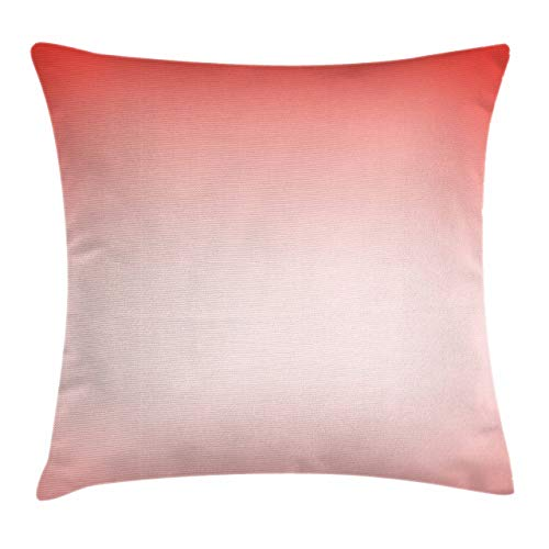 Ambesonne Peach Throw Pillow Cushion Cover Abstract Ombre Composition in Feminine Colors with Dreamy Display Art Print Decorative Square Accent Pillow Case 16 X 16 Dark Coral