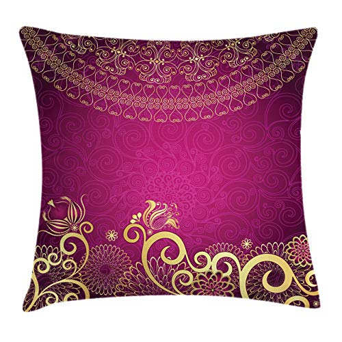 Lunarable Pink and Yellow Throw Pillow Cushion Cover Vintage Classic Ornamental Swirled Bohemian Traditional Pattern Decorative Square Accent Pillow Case 18 X 18 Magenta Yellow