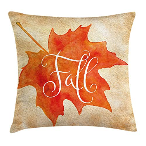 Ambesonne Fall Throw Pillow Cushion Cover Vivid Watercolor Style Maple Leaf Fall Word on Vintage Backdrop Decorative Square Accent Pillow Case 18 X 18 Brown Orange