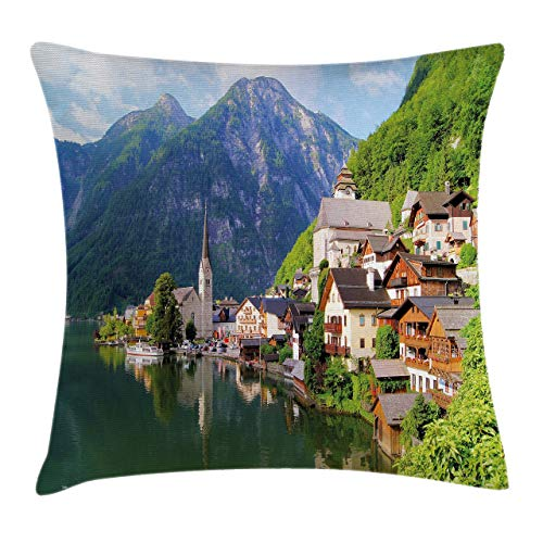 Ambesonne Nature Throw Pillow Cushion Cover Idyllic Alps Village Small Town by Majestic Mountain Lake European Pastoral Scenery Decorative Square Accent Pillow Case 18 X 18 Multicolor