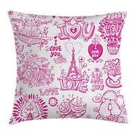 Ambesonne Doodle Throw Pillow Cushion Cover I Love You Valenties Design Hugging Touching Singing Hearts Coffee Expressing Affection Decorative Square Accent Pillow Case 24 X 24 Pink