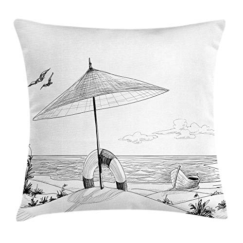 Lunarable Black and White Throw Pillow Cushion Cover Sketch Style Summer Beach with Boat Life Buoy and Wavy Ocean Holiday Decorative Square Accent Pillow Case 24 X 24 White Black