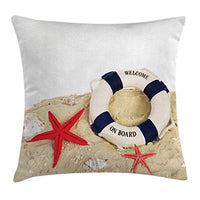 Ambesonne Buoy Throw Pillow Cushion Cover Life Buoy and Shells Starfishes at Sandy Beach Coast Seaside Transport Decorative Square Accent Pillow Case 16 X 16 Navy Blue