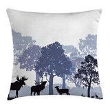 Ambesonne Moose Throw Pillow Cushion Cover Forest Design Abstract Woods North American Wild Animals Deer Hare Elk Trees Decorative Rectangle Accent Pillow Case 26 X 16 Lilac Blue