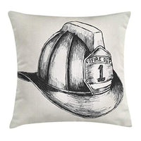 Lunarable Fireman Throw Pillow Cushion Cover Sketch Style Illustration a Firefighter The Fire Department Decorative Square Accent Pillow Case 24 X 24 Dark Grey