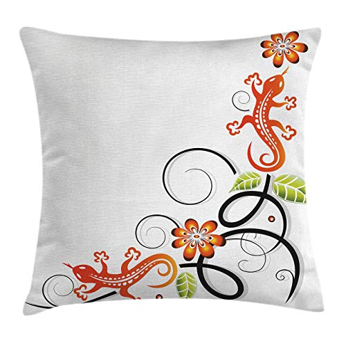 Ambesonne Tribal Throw Pillow Cushion Cover Small Baby Lizard Flowers and Leaves with Oriental Lines Print Decorative Square Accent Pillow Case 20 X 20 Orange White