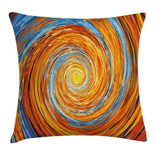 Ambesonne Fractal Throw Pillow Cushion Cover Hippie Style Vortex Spiral Rotary Colorful Chaotic Unusual Turning Contrast Design Decorative Square Accent Pillow Case 24 X 24 Orange Blue