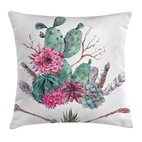 Ambesonne Cactus Throw Pillow Cushion Cover Exotic Natural Vintage Style Watercolor Bouquet Bohemian Arizona Vegetation Decorative Square Accent Pillow Case 18 X 18 Green Pink