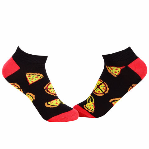 Food Ankle/Low Cut Socks - Pizza (Black X Red) - Tale Of Socks