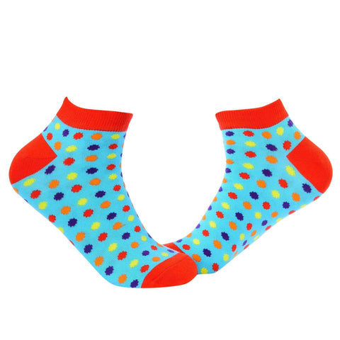 Small Polka Dots Ankle/Low Cut Socks - Light Blue - Tale Of Socks