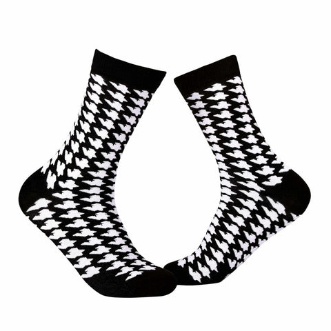 Dogtooth Crew Socks - Black & White - Tale Of Socks