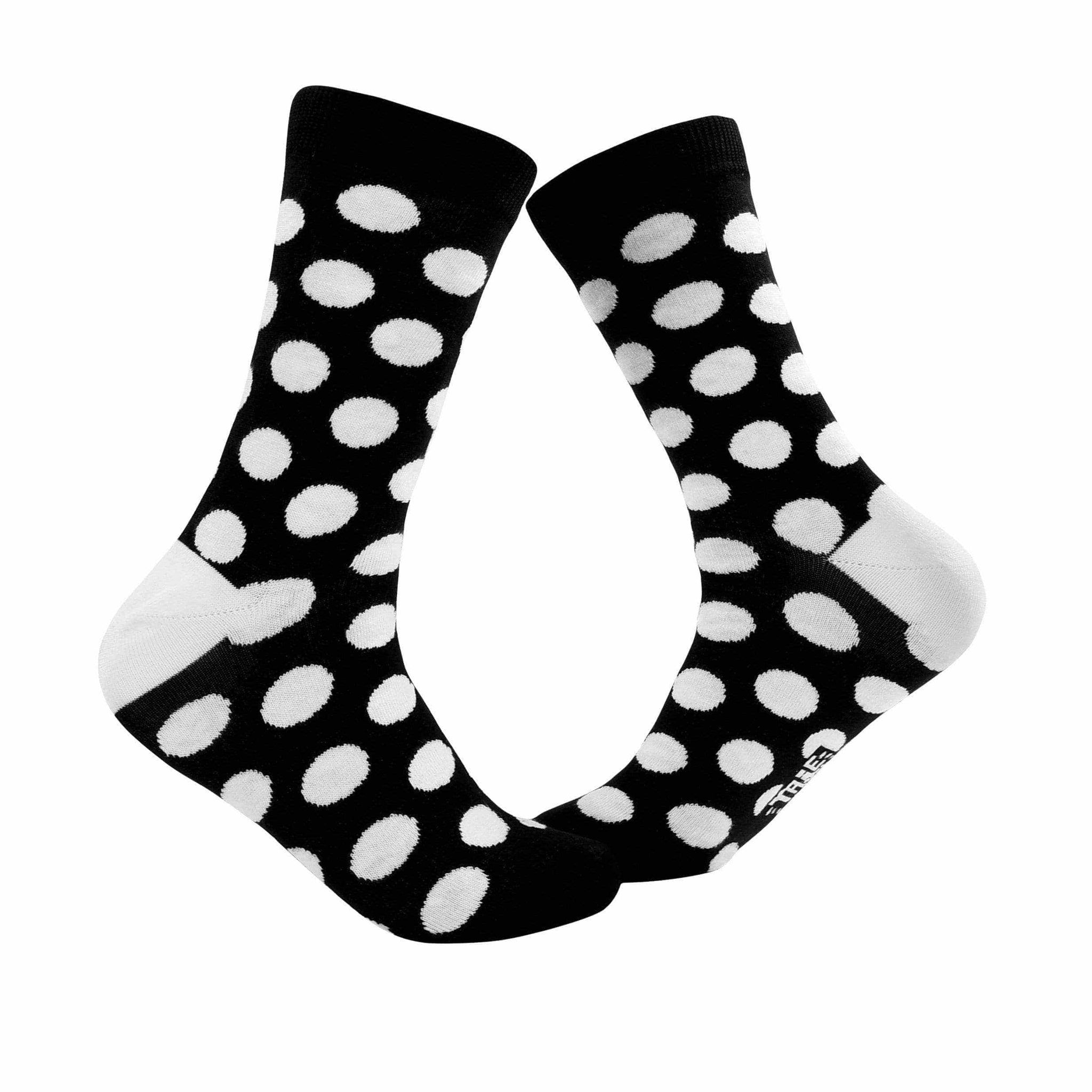 Big Polka Dots Crew Socks - Black and White - Tale Of Socks