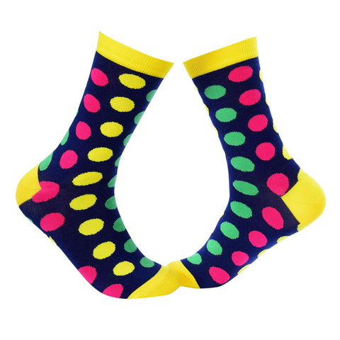 Big Polka Dots Crew Socks - Blue - Tale Of Socks