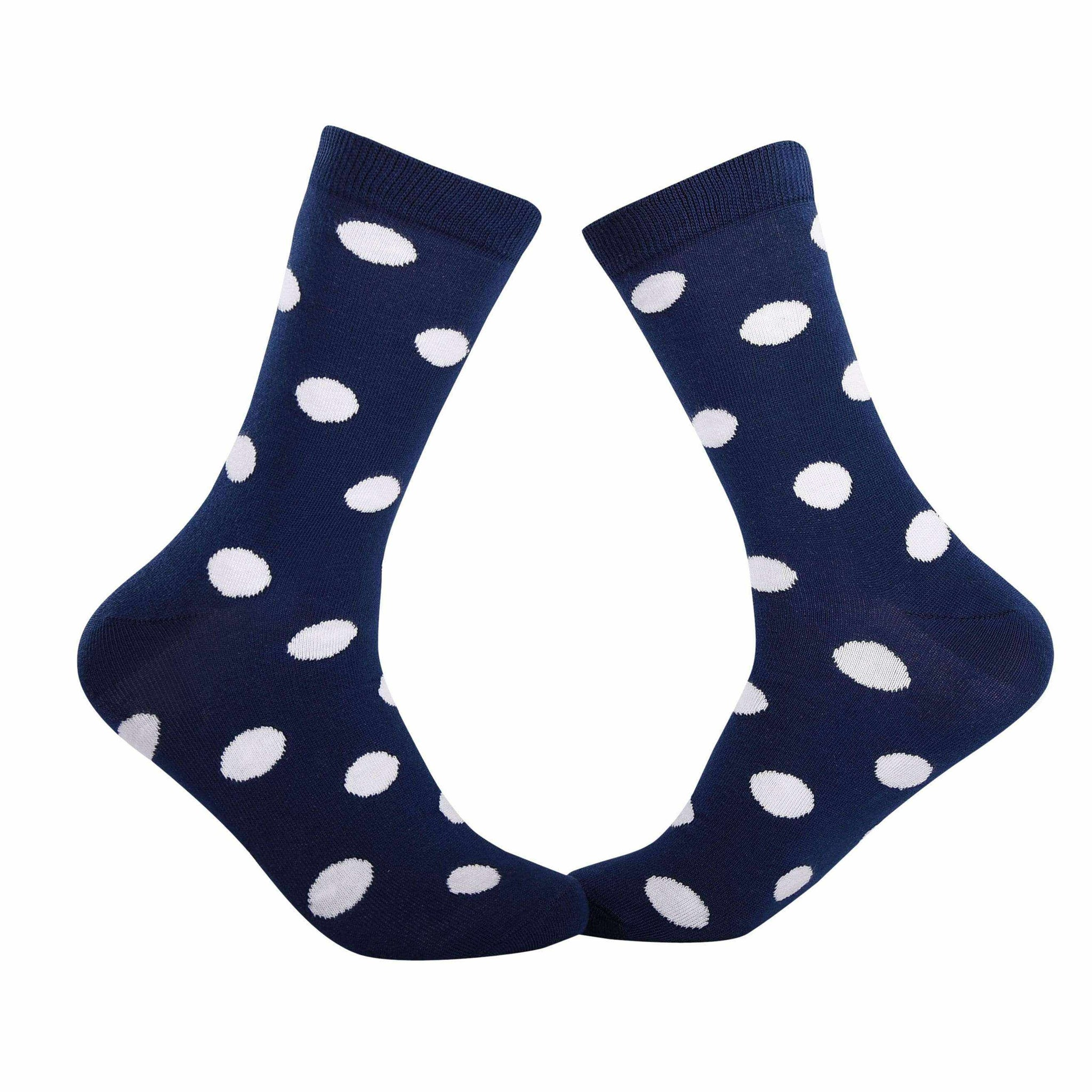 Big Polka Dots Crew Socks - Navy and White - Tale Of Socks
