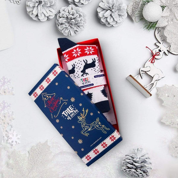 Special Edition Christmas Crew Socks Gift Box - Christmas Tree & Deers - Tale Of Socks