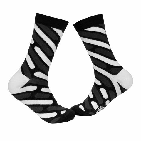 Stripes Crew Socks - Grey, Black, and White - Tale Of Socks